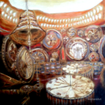 """""""Czas jako iluzja"""", 74x74cm, akryl, 2017"""