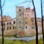 Drzewica Castle (oil painting), 2018