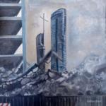"""""""Miejski Pejzaż"""", 74x74cm, akryl, 2017"""