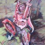 """""""Goliard z zamku w Wiśniczu"""", 50x40cm, akryl, 2018"""