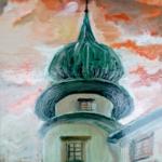 """""""Zamek w Wiśniczu - wieża"""", 50x40cm, olej, 2019"""