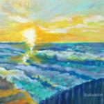 """""""Morze Światła"""", 29x33cm, akryl, 2017"""