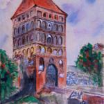 """""""Brama Człuchowska - Chojnice"""", 24x35cm, akryl, 2016"""