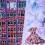 """Podniebna kamienica"", 74x54cm, akryl, 2017"