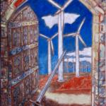 """""""Walka z wiatrakami"""", 74x54cm, akryl, 2017"""