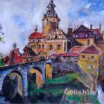 """""""Zamek Czocha"""", 33x29cm, akryl, 2016"""