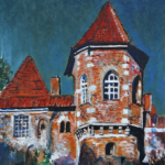 Oporow Castle – the tower (acrylic painting), 2016