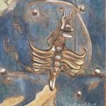 """""""Zamek Orawski - detal bramy"""", 40x34cm, akryl, 2016"""