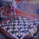"""""""Zerwanie pieczęci"""", 74x74cm, akryl, 2017"""