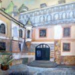 Krasiczyn Castle - the courtyard (acrylic painting), 2017