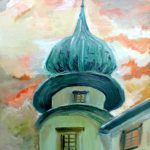 Castle in Wiśnicz - the tower (oil painting), 2019